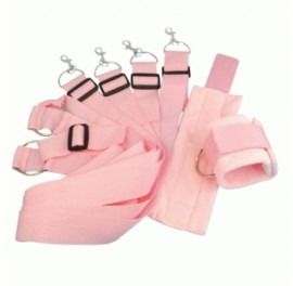 Under Bed Restraint System with Soft Fur Cuffs