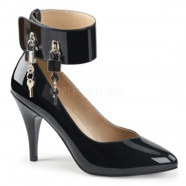 Padlock Ankle Strap Court Shoe Wider Fitting for Sissy Maids