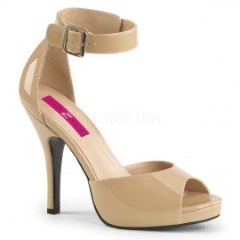 Patent Ankle Strap Open Shoe in Larger Sizes