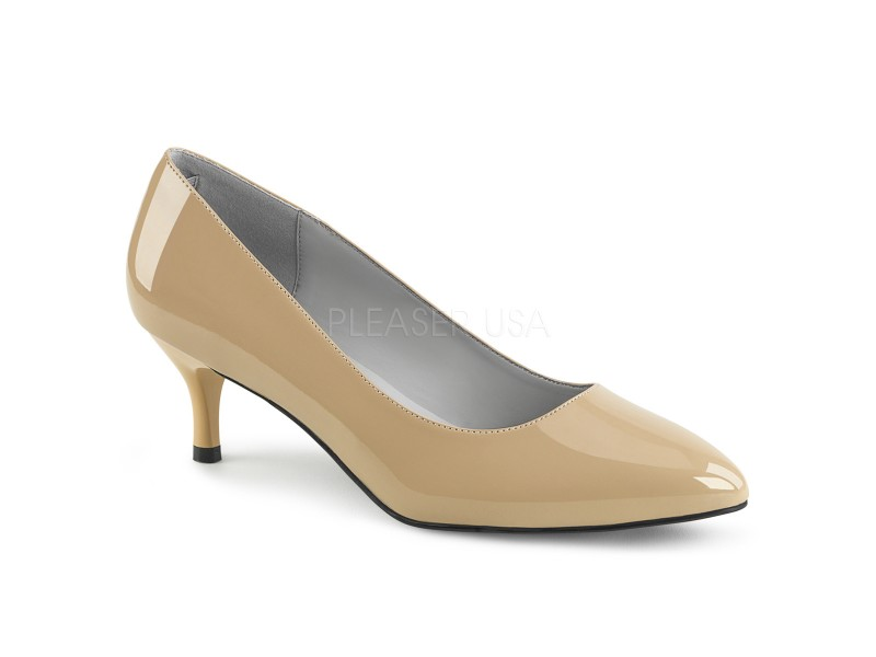 Kitten Heel Patent Court Shoe in larger sizes for Sissy Maids