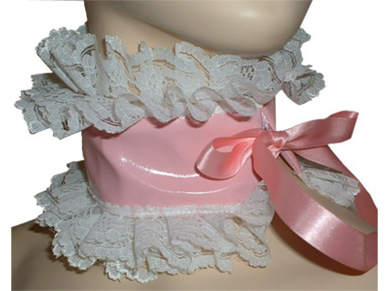 Pretty PVC and Lace Choker for Sissy Maids