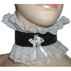 Velvet and Lace Choker for Sissy maids