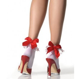 Red Valentine Hearts Ruffle Anklet W/Satin Bow