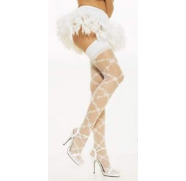 Floral diamond pattern stockings - Sissy Maids