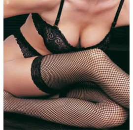 Fishnet stockings with lace top - Sissy Maids