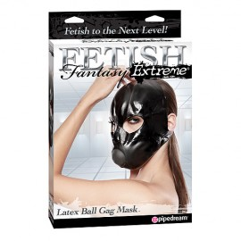 Extreme Latex Ball Gag Mask - Sissy Training