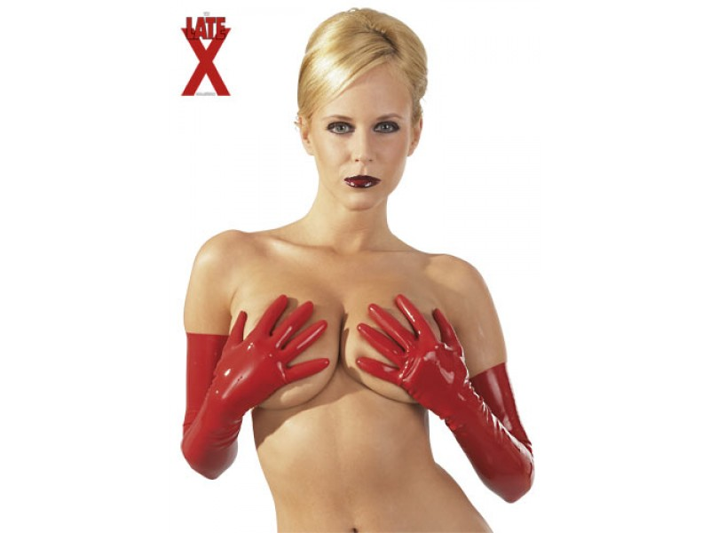 Long Red Latex Gloves