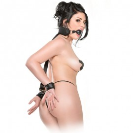 Gag and Wrist Restraint - Sissy Punishment